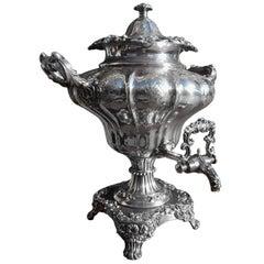 English Sheffield Hand Chased Acanthus Tea Urn, Circa 1830