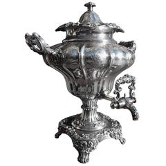 English Sheffield Hand Chased Acanthus Tea Urn, Circa 1830