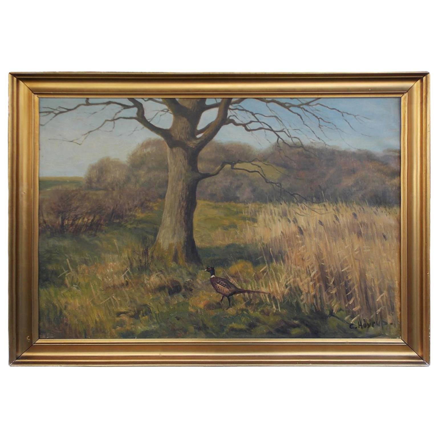 Oil on Canvas of Landscape with Pheasant, Signed C Hoyrup, 20th Century