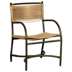 Rare Single Bronze and Cord Chair by Walter Lamb