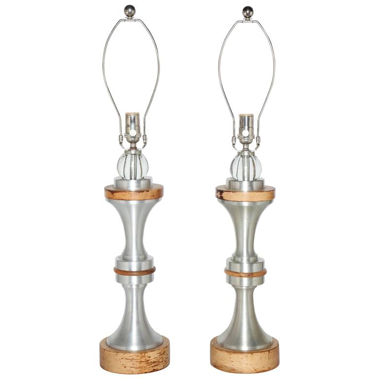 Pair of 1950s Russel Wright Machine Age Spun Aluminum, Maple and Glass Lamps