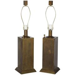 Pair of Chapman Mfg. Co. All Brass Tower Table Lamps, 1960s