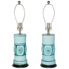 Pair of Aldo Londi for Bitossi Pale Aqua and Turquoise Ceramic Table Lamps
