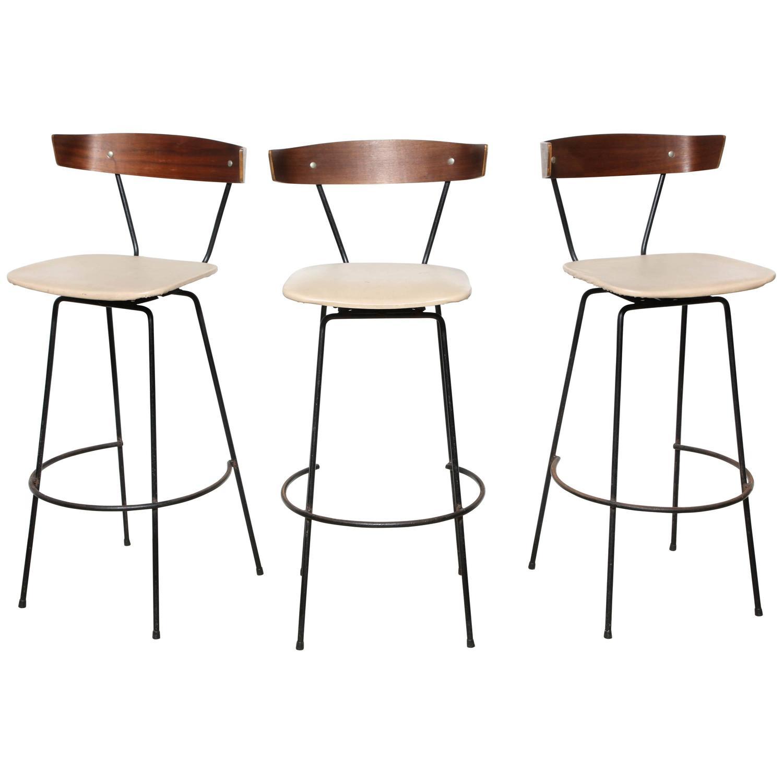 set of 3 clifford pascoe bar stools at 1stdibs. Black Bedroom Furniture Sets. Home Design Ideas