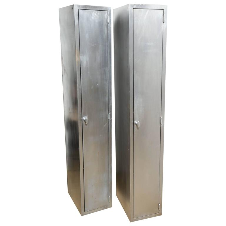 Two Tall and Narrow 1950s Industrial, Brushed Steel ...
