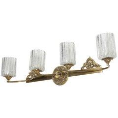 Marbro Murano Co. Four Shade Wall Lamp in Brass, Bronze & Salted Murano Glass