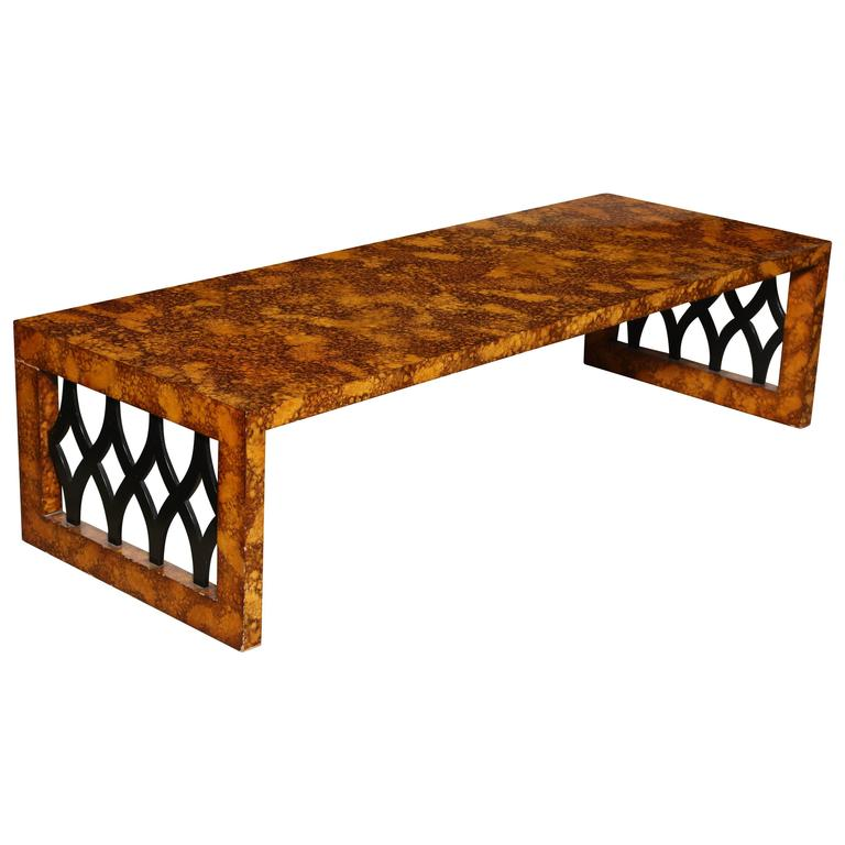 Oil Drop U0026 Black Lattice Coffee Table, 1961 For Sale