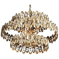 Gaetano Sciolari Three Tier Brass Pendant with Multi Faceted Drop Crystals