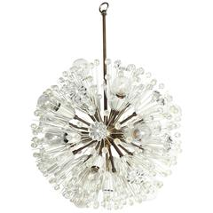 Emil Stejnar Hand Cut Crystal and Brass Snowball Hanging Pendant, Circa 1950