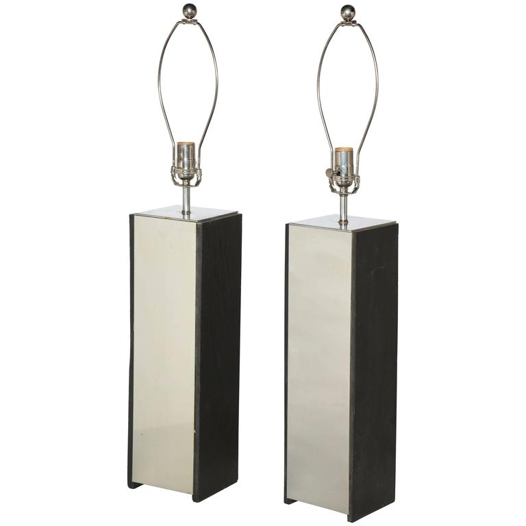 Pair of Substantial Laurel Lamp Co. Black Slate and Aluminum Table Lamps, 1960s For Sale