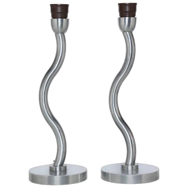 "Pair of European Post Modern Machined ""Serpentine"" Brushed Steel Table Lamps"