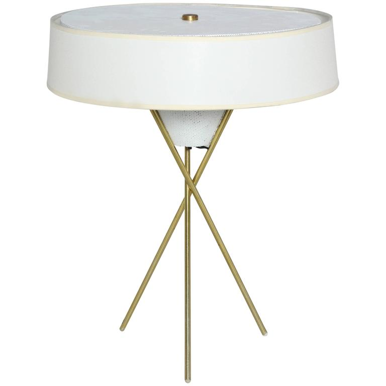 Gerald Thurston for Lightolier Brass Tripod Table Lamp with White Linen Shade