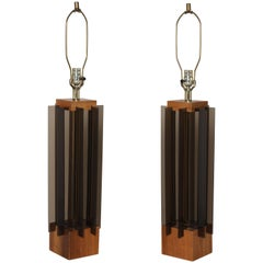"Tall Pair of Laurel Co. Walnut ""Tower"" Table Lamps with Smoky Lucite Panels"