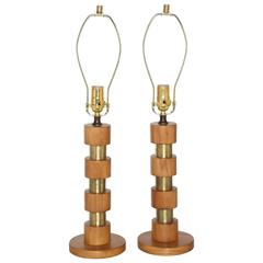Pair of Circa 1950 Machine Age Stacked Brass and Maple Table Lamps