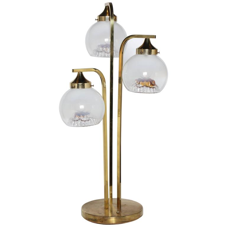 "1960s A. V. Mazzega Brass ""Fountain"" Table Lamp with Three Frosted Glass Shades"