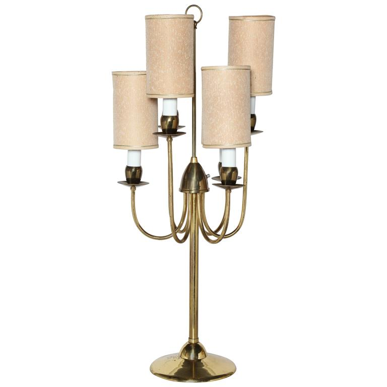 Great 1950s Parzinger Style Six Candlestick And Six Shade Brass Candelabra Table  Lamp For Sale