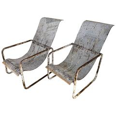 French Industrial Mid-Century Steel Garden Chairs