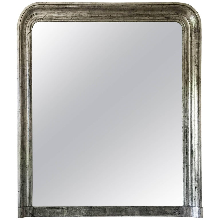 Large 19th Century Louis Phillippe Silver Gilt Overmantel Mirror For Sale