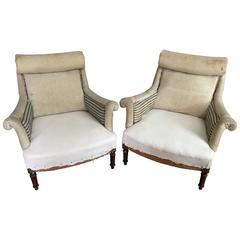 Pair of Scroll Top French Salon Chairs