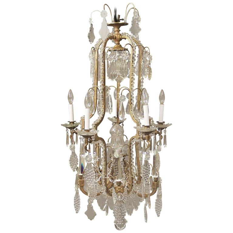Late 19th Century Gilt Bronze And Crystal Chandelier For