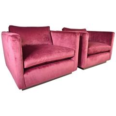 Pair of Milo Baughman for Thayer Coggin Cube Lounge Chairs in Velvet