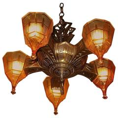 Five Shade Vintage 1920s Tudor Fixture, Original Copper over Cast Iron Finish