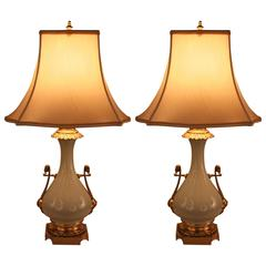 Pair of French 19th Century Porcelain and Bronze Lamps by Gagneau & Co