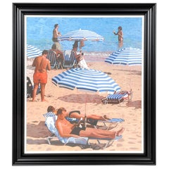 """Beach Parasols"" Oil on Canvas by Peter Collins, England, 2006"