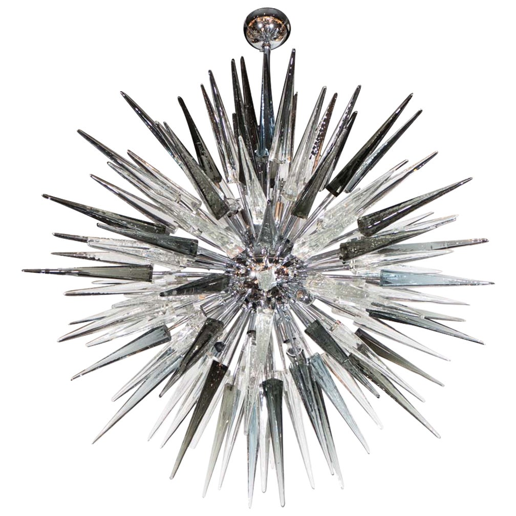 Modernist Handblown Smoked Murano Glass Starburst Chandelier in Polished Nickel