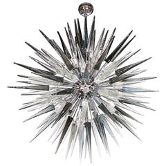 Smoke Grey Handblown Murano Glass Spiked Starburst Chandelier in Polished Nickel