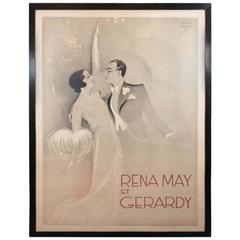 Rare and Important French Art Deco Poster of Rena May Et Gerardy