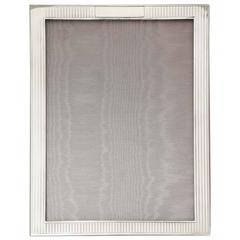Art Deco Sterling Silver Tuxedo-Striped Picture Frame