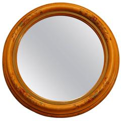 Circular Balection Wooden Mirror Frame W/ Hand-Painted Floral Decorations