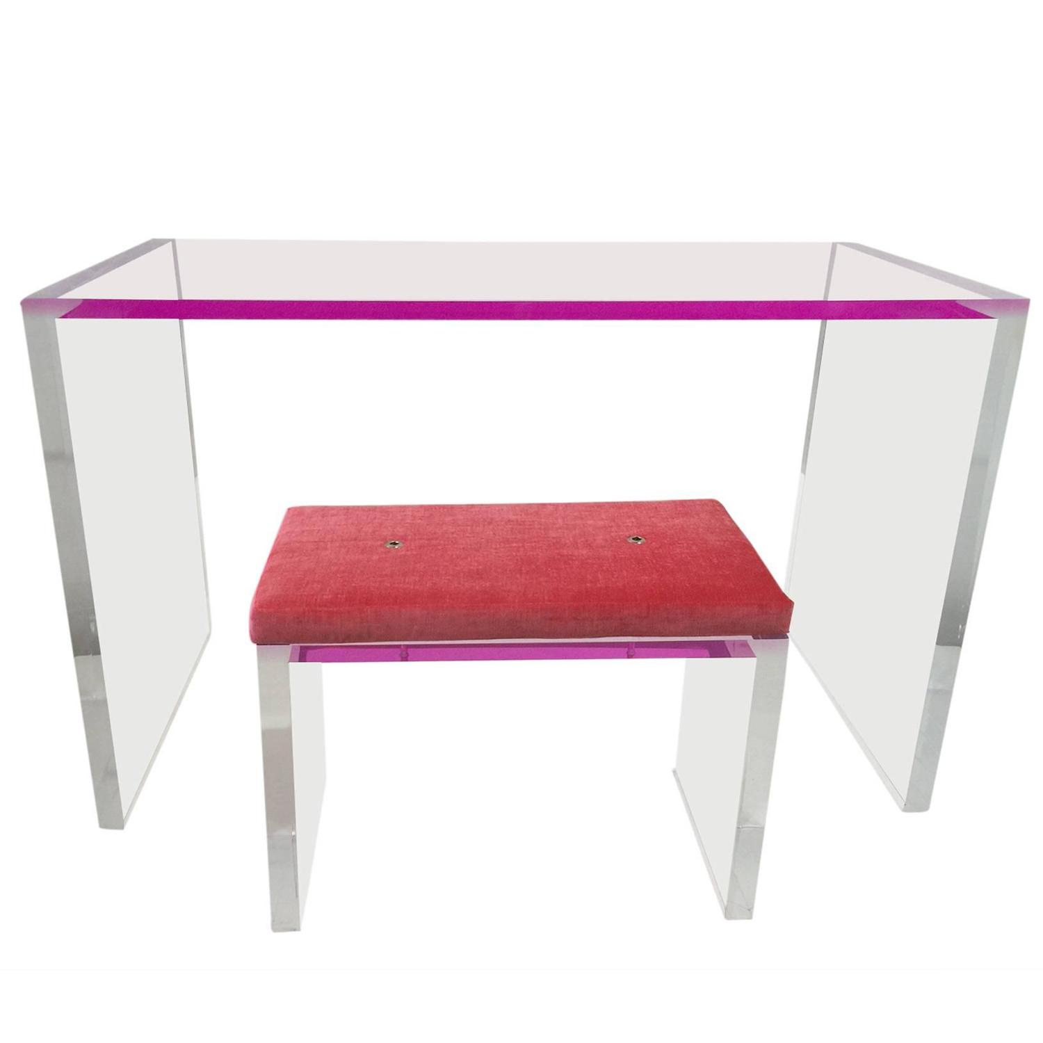 Whimsical Pink And Clear Acrylic Desk And Bench For Sale. Modern Desks With Drawers. Student Working At Desk Clipart. Kirklands Coffee Tables. Wall Desk Ikea. Cost To Move A Pool Table. Gray Bedside Table. Pencil Drawers. Lightweight Folding Table