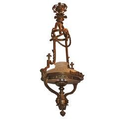 Monumental French Victorian Gilt Bronze Frosted Globe Chandelier Fixture Lantern