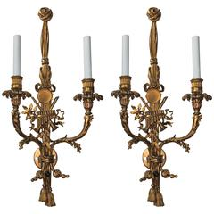 Outstanding Pair French Gilt Bronze Musical Instrument & Tassel Floral Sconces
