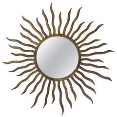 Spanish Gilt Iron Flush Mount Sunburst Fixture with Pointed Thin Rays