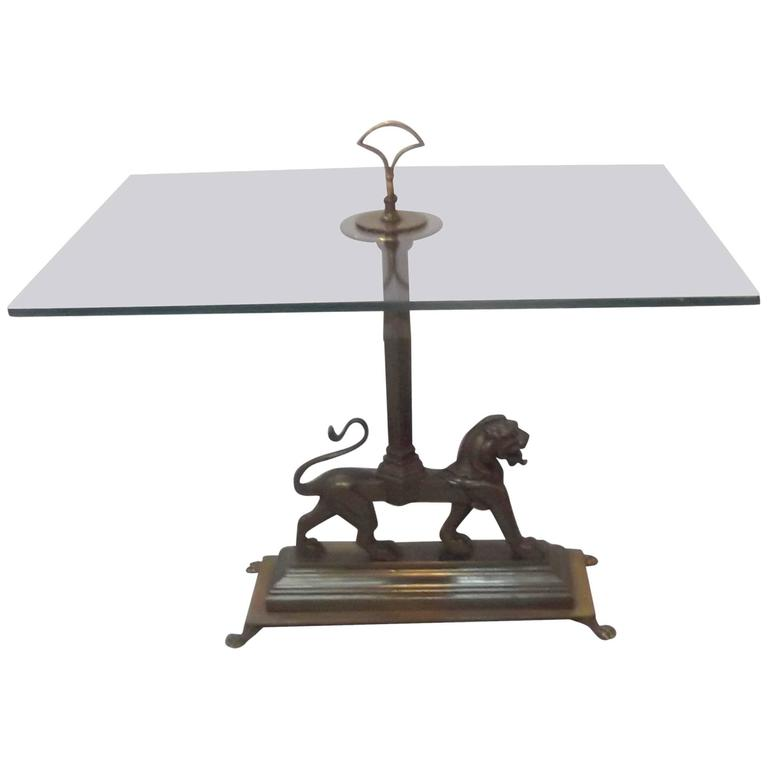 Cast Brass and Glass Drinks Table