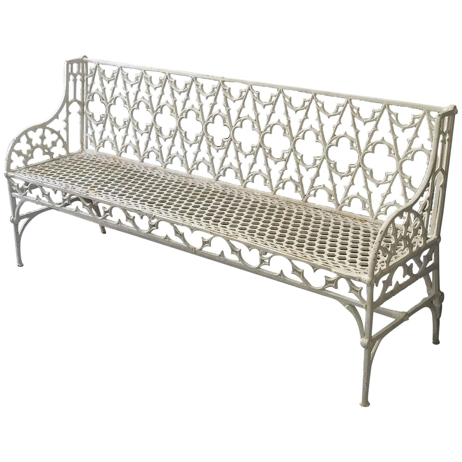 Large french val d 39 osne cast iron garden bench at 1stdibs French metal garden furniture