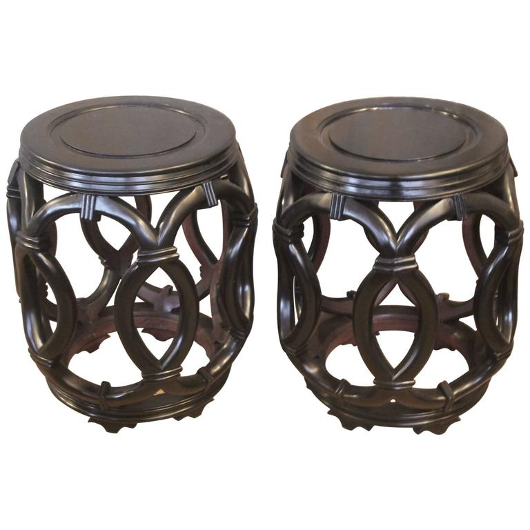 Pair Of Chinese Barrel Side Tables Or Stools At 1stdibs
