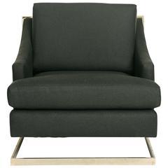 Milo Baughman Brass Cantilevered Lounge Chair