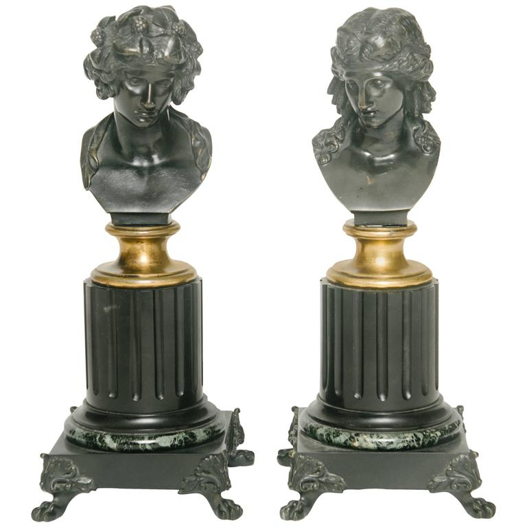 Pair of 19th Century French Patinated Bronze Busts