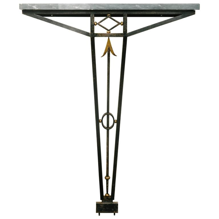 French Art Deco Wrought Iron Console Table with Marble Top