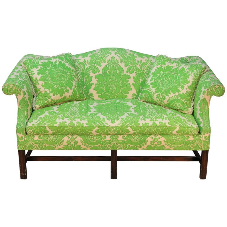 Vintage Camelback Sofa With Green Printed Upholstery For