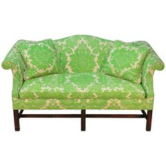 Vintage Camelback Sofa with Green Printed Upholstery