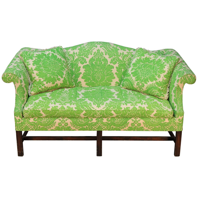Peachy Vintage Camelback Sofa With Green Printed Upholstery Inzonedesignstudio Interior Chair Design Inzonedesignstudiocom