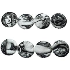 Complete Set of Eight Vintage Piero Fornasetti Eve Coasters in Original Gold Box