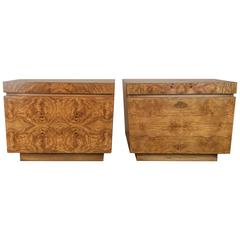 1950s Grgeous Pair of Milo Baughman for Lane Olive Burl Nightstands