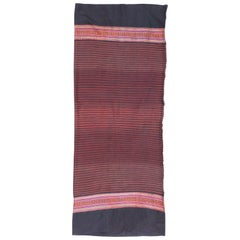 Vintage Laotian Cotton Textile Pink, Red and Indigo