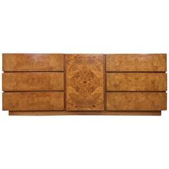 Beautiful Burl Wood Dresser in the style of Milo Baughman